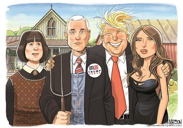 RJ Matson - Roll Call - Trump Pence American Gothic-COLOR - English - Trump Pence American Gothic, Donald, Trump, Mike, Pence, Karen, Melania, American, Gothic, Republican, Party, Conservative, Liberal, New York, Indiana, Grant, Wood