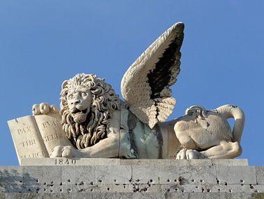 El León de San Marcos, León Alado o León Marciano es la representación simbólica del evangelista San Marcos, posee la forma de un león alado con una aureola o nimbo. Suele representarse con un libro y una espada, sujetos con sus patas delanteras como elementos complementarios.