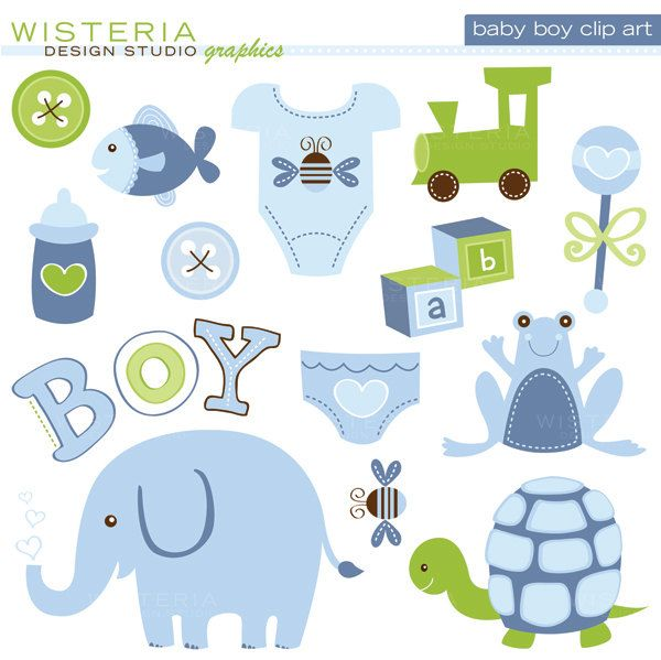 Baby Boy Elements - Clip Art for Personal  Commercial Use - Digital Designs. $5.00, via Etsy.