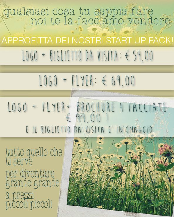 Approfitta dei nostri Start Up Pack! www.studiozeronegativo.com