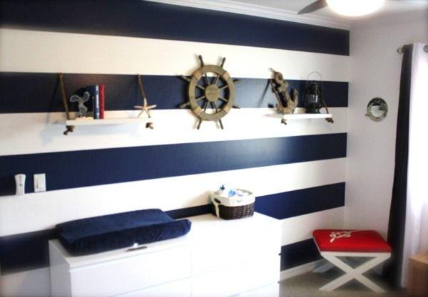 quarto náutico azul listrado