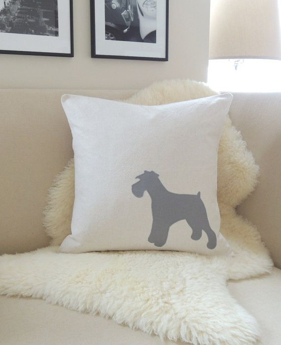 Miniature Schnauzer Pillow Cover - Standard, Mini or Giant Schnauzer Dog Appliqué Silhouette - Pewter Grey & Oatmeal - Modern 18x18 20x20