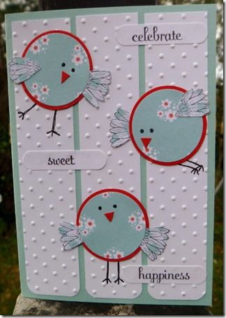 Happy Birds • Made with circles for the bodies & flower petals for the wings