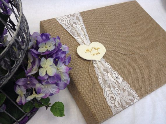 Rustic Wedding Scrapbook, Burlap and Lace, Engraved Heart, Personalized, Country Wedding, Barn
