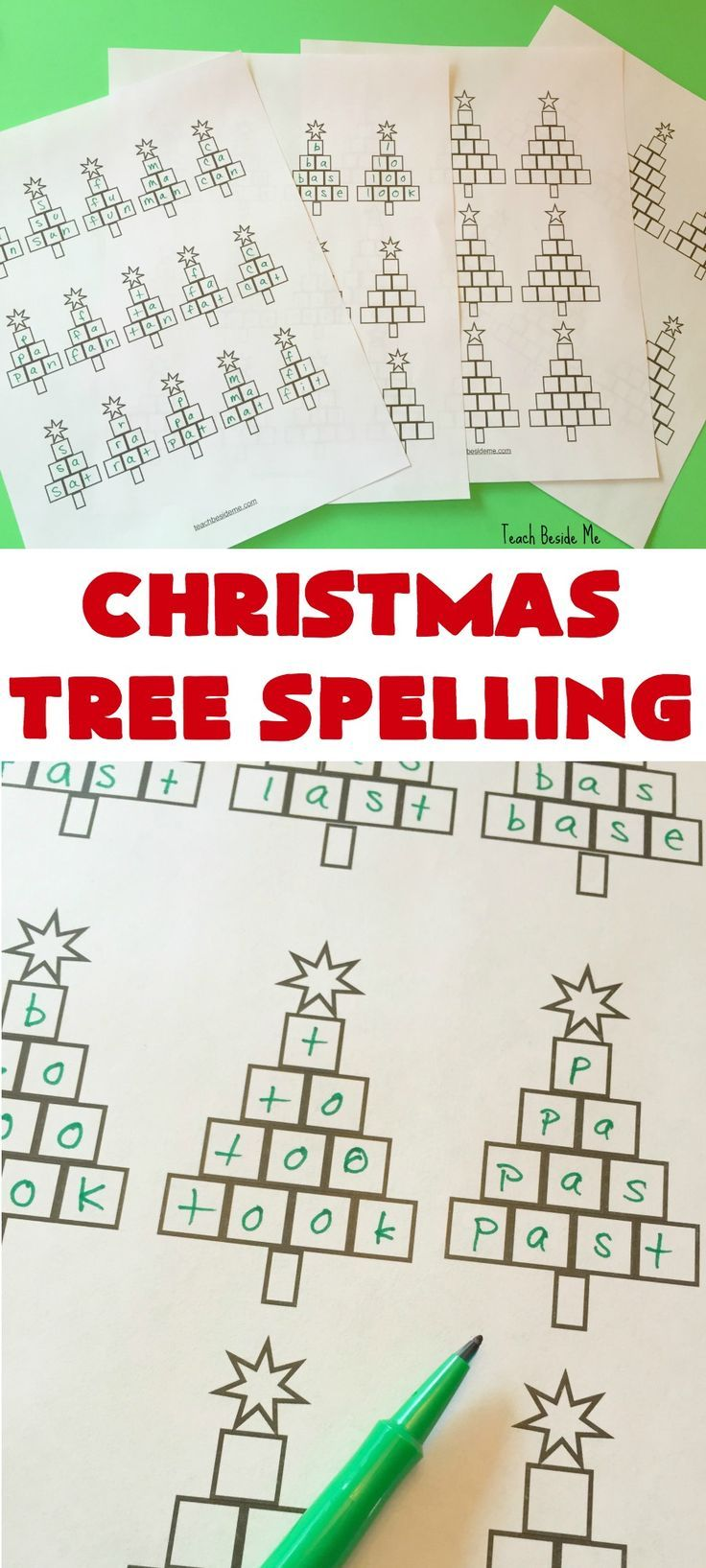 Christmas tree spelling worksheets - Teach Beside Me