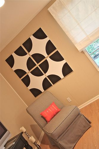 diy canvas art.  like how this echoes a window.  could do a lighter color for bedroom.