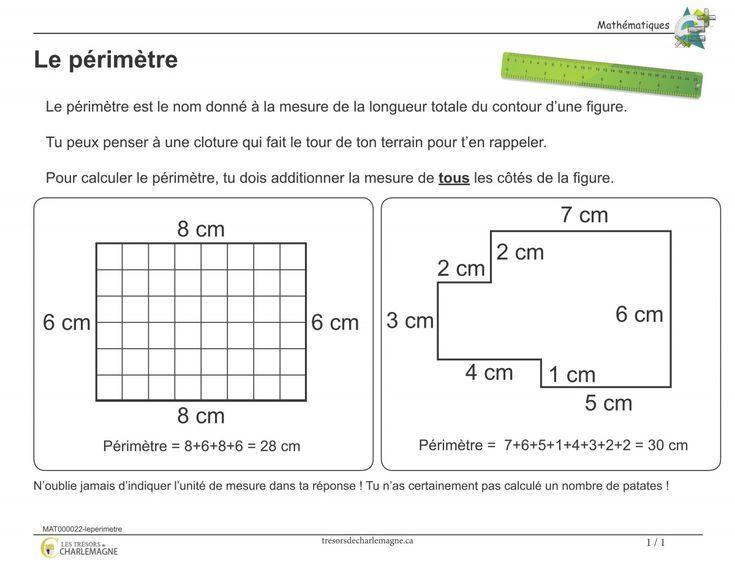Affiche-Le périmètre - Les trésors de Charlemagne Ce document vous servira de référence pour la notion du périmètre. Vous pouvez l'afficher en classe ou l'inclure dans vos cahiers de notions.  #Affiches #Mathématiques  2e cycle, 3e année, 3e cycle, 4 année, 5e année, 6e année, #affiche #Mathématique #mesure #périmètre