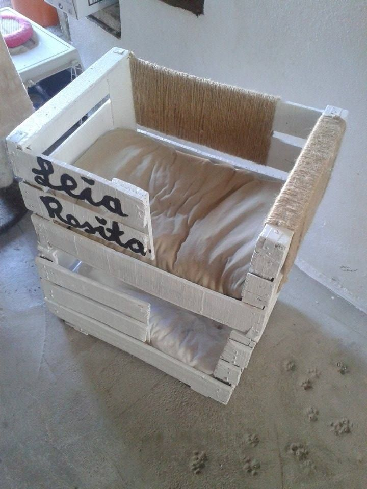 Gatificacion cajas de fruta cama gato