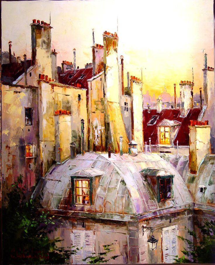 Russian artist Gleb Goloubetski | Paris roofs 80x100 2006 — with Graham Powell at Graham Fine Art.