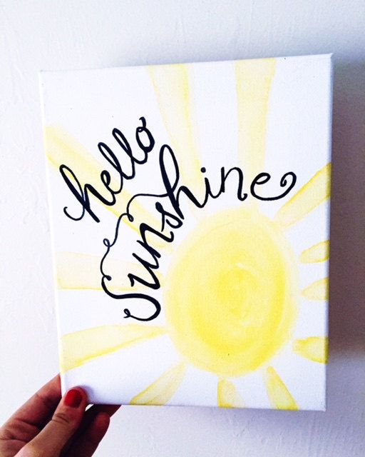 8x10 acrylic quote canvas: Hello Sunshine  ANYONE WHO GOES TO VIRGINIA TECH OR OHIO UNIVERSITY: MESSAGE US FOR A FREE SHIPPING COUPON (we will set
