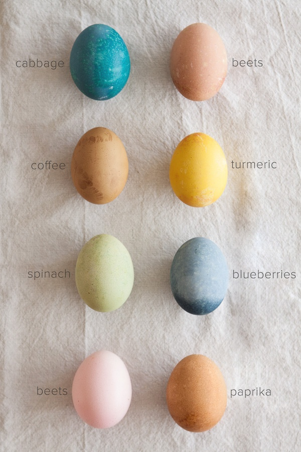 To dye your eggs BLUE:  -1-2 cups chopped purple cabbage  -2 cups water  -1 tablespoon salt  -1 tablespoon vinegar    To dye your eggs GREYISH-BLUE:  -2-3 cups fresh or frozen blueberries  -2 cups water  -1 tablespoon salt  -1 tablespoon vinegar    To dye your eggs PINK:  -1 beet, chopped into small chunks  -2 cups water  -1 tablespoon salt  -1 tablespoon vinegar    To dye your eggs BROWN:  -2 cups of strongly brewed coffee  -1 tablespoon salt  -1 tablespoon vinegar    To dye your eggs…