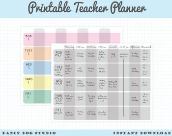Printable Weekly Planner - Teacher's Weekly Lesson Plan Sheet