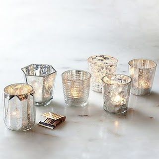 Tribute Dinner at the Terrace Room- mercury glass votives will be grouped around the centerpieces