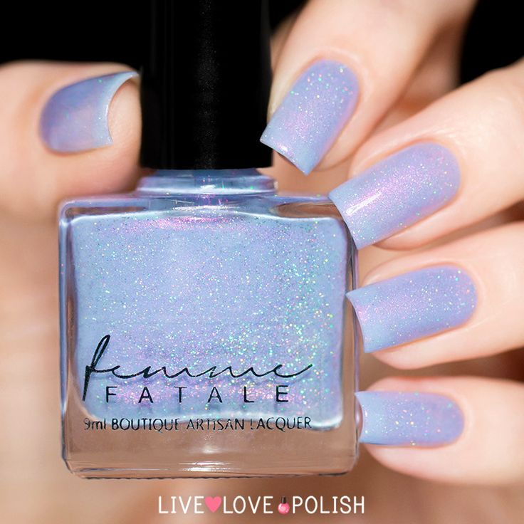 Femme Fatale Siren Melodies   e Siren Melodies is a stunning periwinkle polish with pink shimmer and holographic micro glitter.