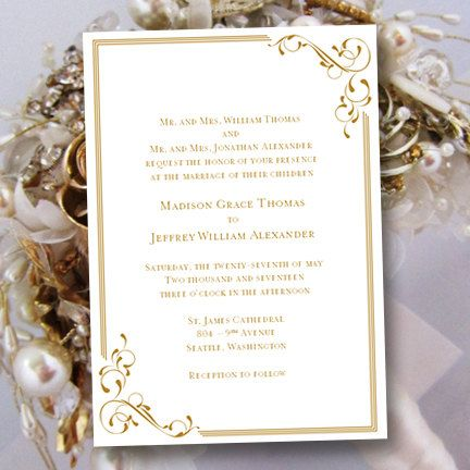 """Printable Wedding Invitation Template """"Elegance"""" in Gold 
