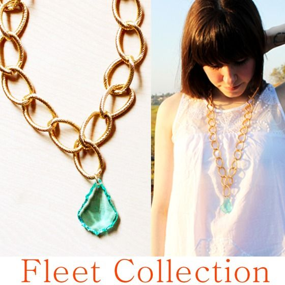 FROZEN LAKES - Ice Blue Crystal Pendant Long Chunky Gold Rope Chain Necklace