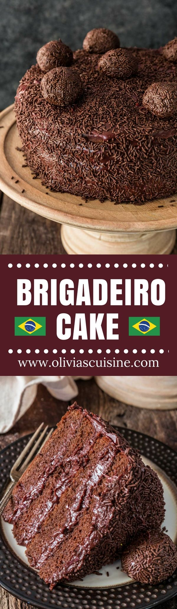 Brigadeiro Cake | www.oliviascuisine.com | Ask any Brazilian what is their favorite cake and you will always get the same answer: brigadeiro cake. Absolutely nothing compares to this rich, fudgy, moist chocolate cake! If you love brigadeiro, this is a must-try! (Recipe and food photography by @oliviascuisine.) AD #NestléMediaCrema