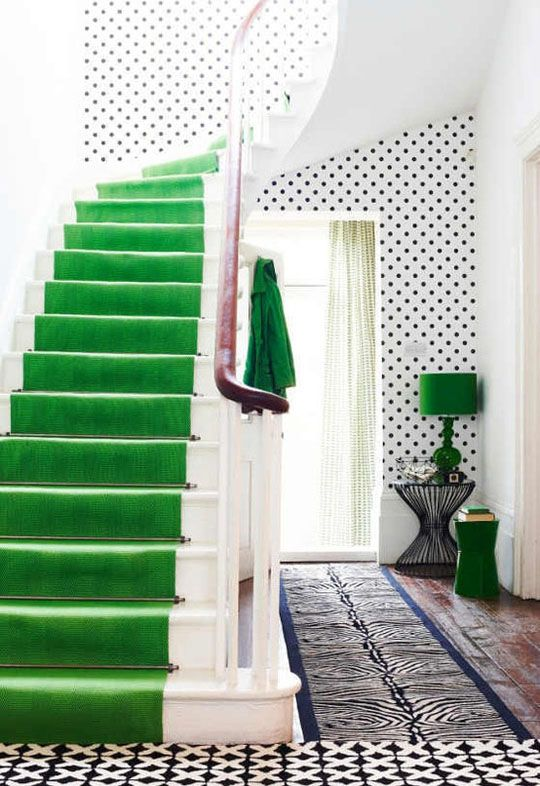 So funny. My son wants green carpet in his room. But he wants a football field theme! Trend Spotting for 2013: Polka Dots, kinda love the bright stair runner