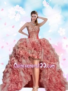 2015 Top Seller Beading and Ruffles Pink Dama Dress For Quinceanera Party