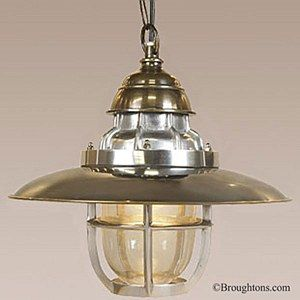 """Steamer Deck Lamp Ceiling Pendant Light: Clearly created in a workroom, instead of an Italian designer's studio. Almost """"Steampunk"""", with a rugged,"""