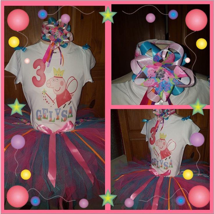 Peppa pig 3th birthday tutu dress/outfit. Verjaardag tutu setje van tule.