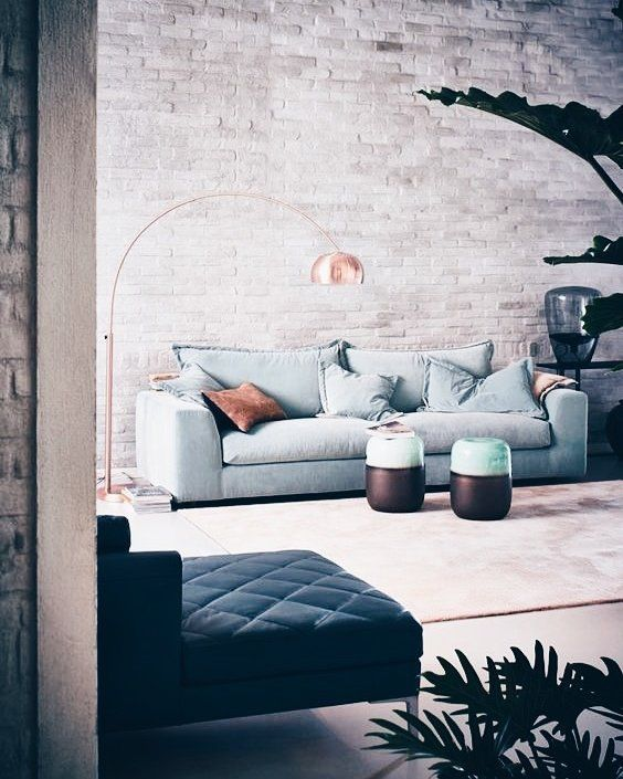 blue couches living rooms minimalist. Industrial Living Room With Exposed Brick Statement Wall Blue Couches Rooms Minimalist