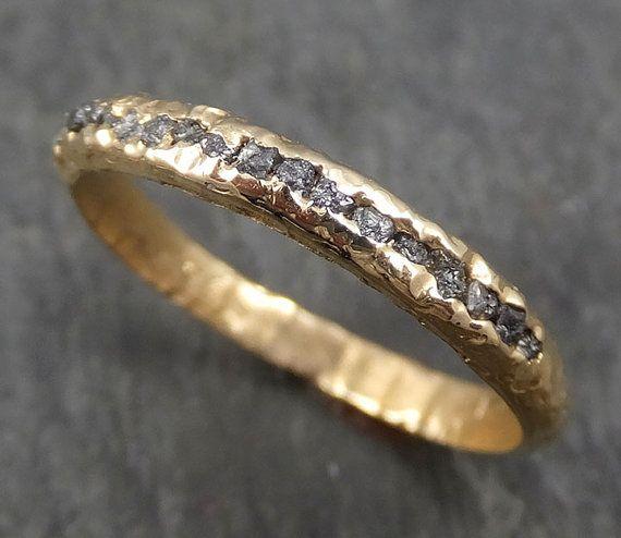 Fede nuziale 14k oro nero grigio libero i diamanti da