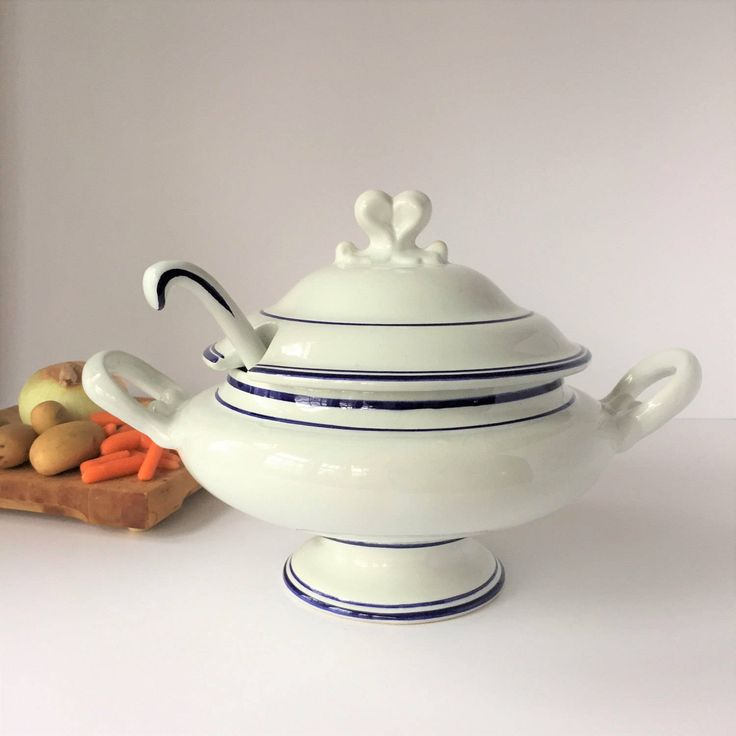 Large Soup Tureen With Ladle, Vintage White Tureen With Blue Stripes, French Country Provencal Kitchen Decor, Hand Painted in Portugal by AlegriaCollection on Etsy