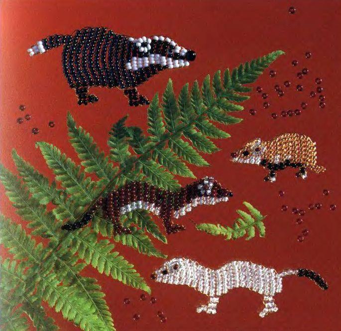 Бисероплетение.Енот cute beaded animals .... weasels and badger?