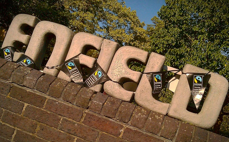 Enfield sign outside the Civic Centre, decked out in Fairtrade bunting!