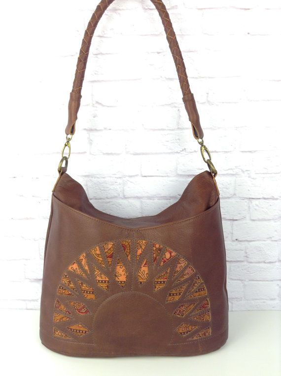 brown leather hobo bag with hand dyed paisley cotton by Wolf Blossom