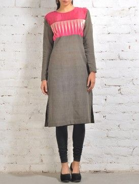 Grey Malkha Kurta With Pink Temple Zari And Chanderi Panel