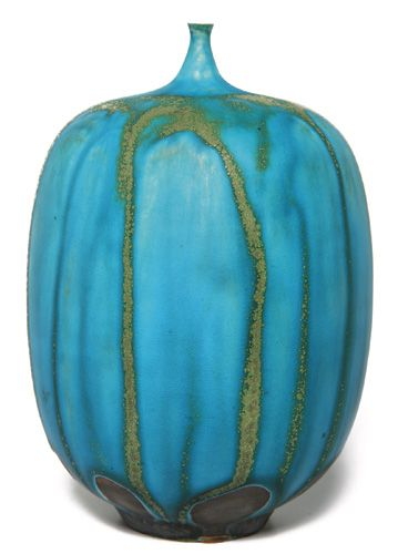 Rose Cabat vase, gourd form in brown clay with a small opening at top, covered in a turquoise and tan drip glaze