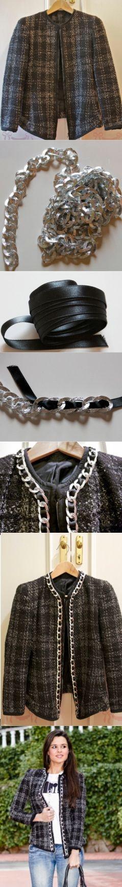 DIY Chain tweed jacket