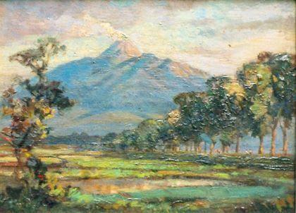 Ernest Dezentjé (Jatinegara (Nederlands-Indië) 1884-1972 Jakarta (Indonesië)) Gezicht op de berg Merapi