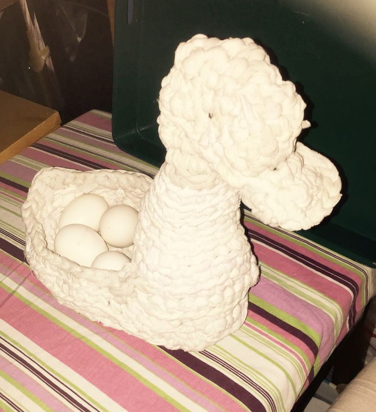 Crocheted duck with eggs designed and made by Findian Annikki Matthan for her Facebook Art of Crochet.