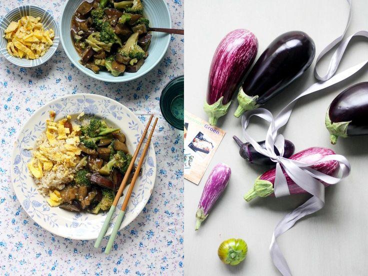 Broccoli en aubergine in Chinese gember-knoflooksaus