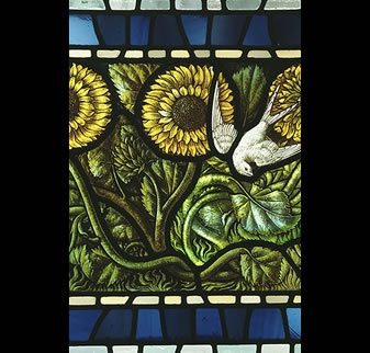 Stained glass with sunflower motif (sunflowers are probably the best flower)