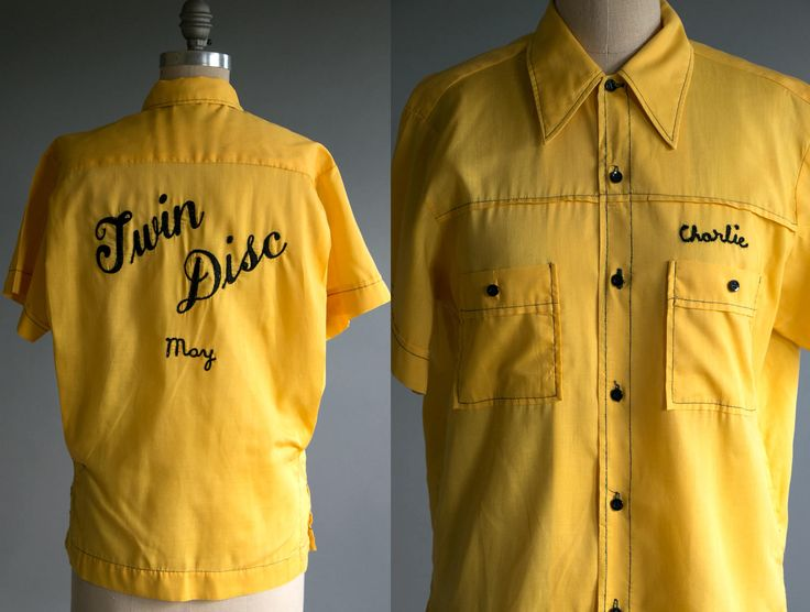 Vintage 1950's Yellow Chainstitch Button Up Permanent Press Shirt, Charlie May Twin Disc , Kitsch Americana Work Wear USA by thiefislandvintage on Etsy