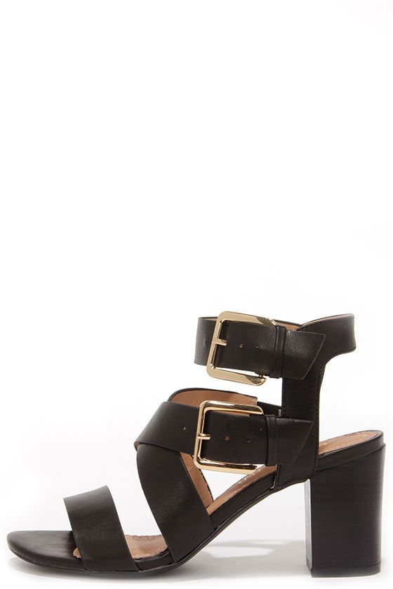 Black Buckled High Heel Sandals