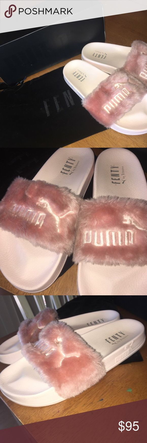 Rihanna Fenty slides Pretty much new Rihanna Fenty slides which includes box and dust bag. I've only worn these 5 times. I love them but don't use them as much as I'd like to. Firm on price because they can go for a lot more. Puma Shoes Sandals