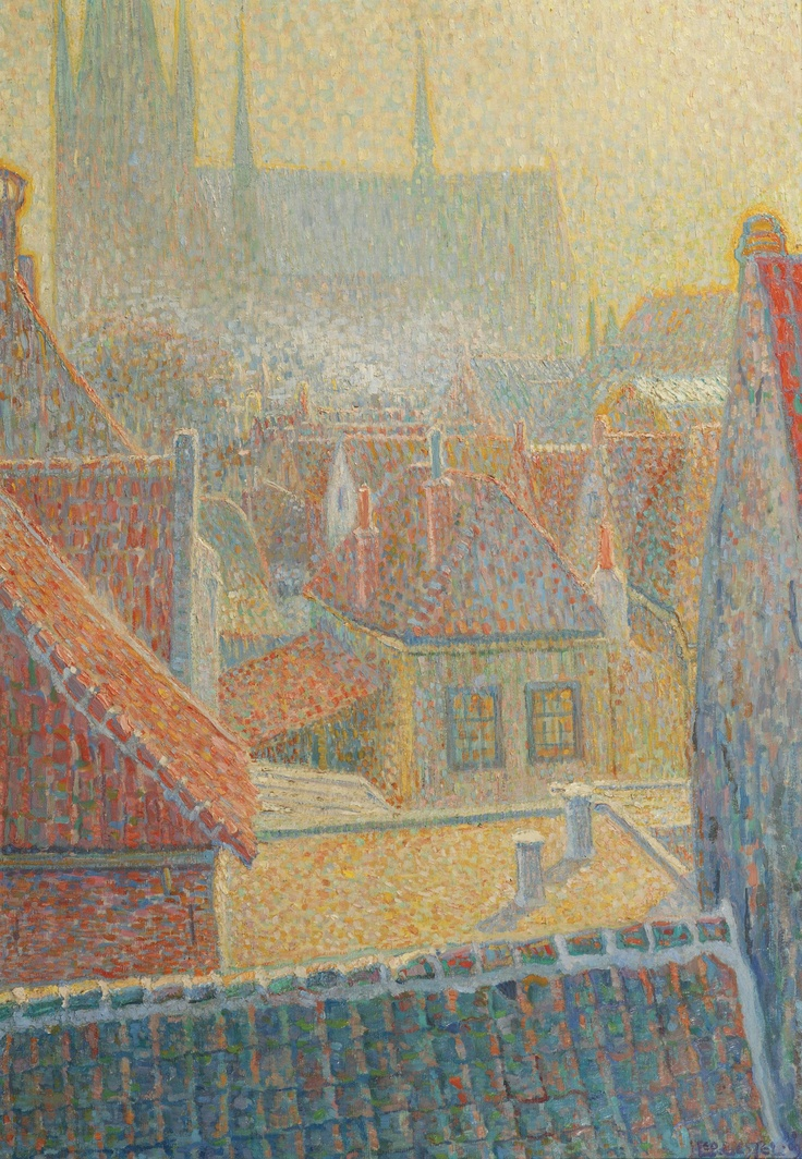 View towards the Church in Woerden, 1909. Leo Gestel (1881–1941) was a Dutch painter. His father Willem Gestel was also an artist. Leo Gestel experimented with cubism, expressionism, futurism and postimpressionism and pointellism as in this beautiful painting. Along with Piet Mondrian he was among the leading artists of Dutch modernism.