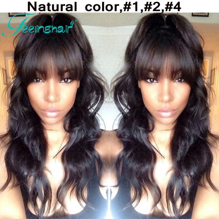 Unprocessed Virgin Brazilian Full Lace Wig Black Women Lace Front Wigs Full Lace Human Hair Wigs With Bangs African American Wig