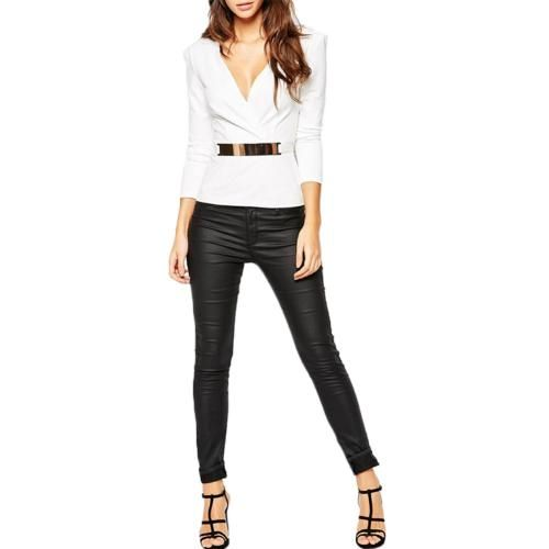 Women Sexy Fashion Cross Long Sleeve V Neck Blouse Shirt Tee