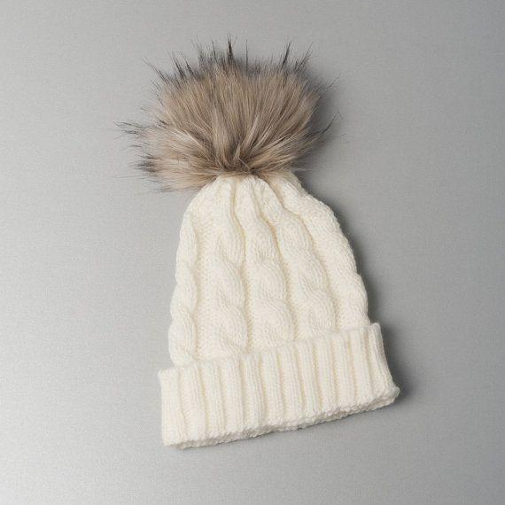 White Beanie Hat Fur Pom Pom Hat SALE Ski Women Hat Cabled Hat Raccoon Fur Pom Pom