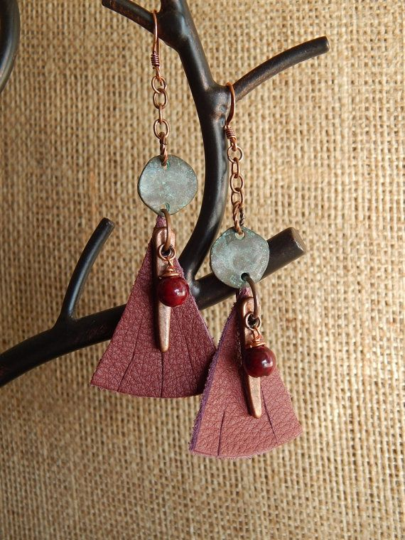 Leather earrings patina oxblood bohemian jewelry by AJBcreations, $13.60