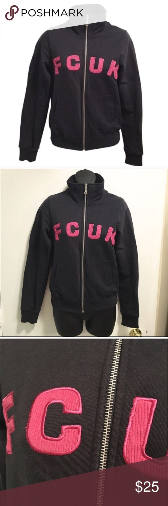 FCUK French Connection Zip Fleece Track Jacket FCUK Jeans by French Connection. Purchased in NYC years ago, no longer sold in stores. May have worn it once. Perfect condition and no signs of wear. Dark gray with hot pink letters. 100% cotton. French Connection Tops Sweatshirts & Hoodies