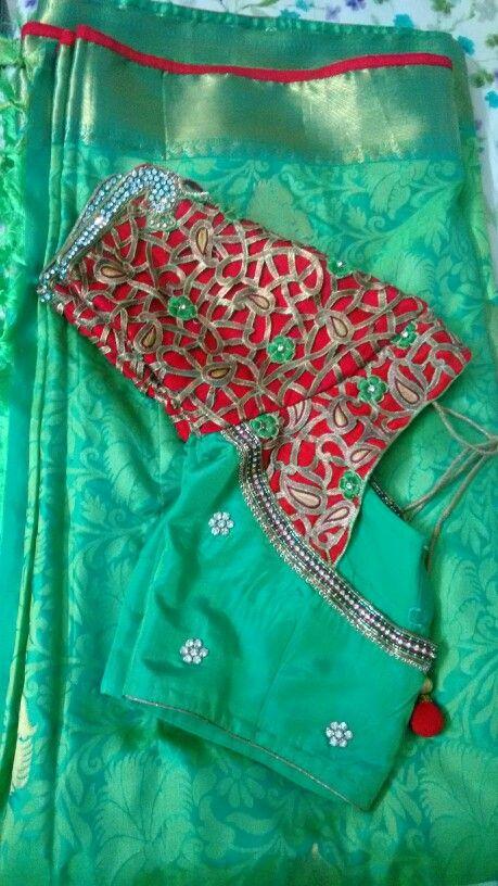 Cut work blouse with kanchi pattu saree in green More