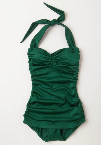Esther Williams Bathing Beauty One-Piece Swimsuit in Emerald | Mod Retro Vintage Bathing Suits | ModCloth.com