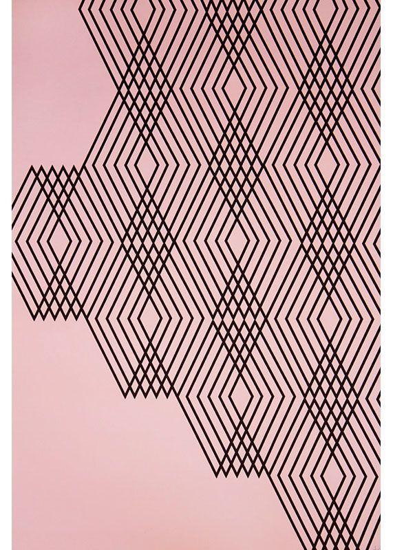geometry pink and black geometric chevron print